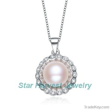natural freshwater pearl silver necklace