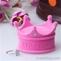 cute princess crown pink flocking jewelry box