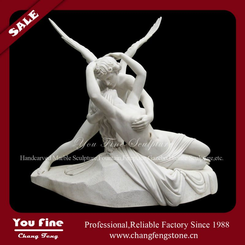 Cupid and Psyche hand carving marble sculpture