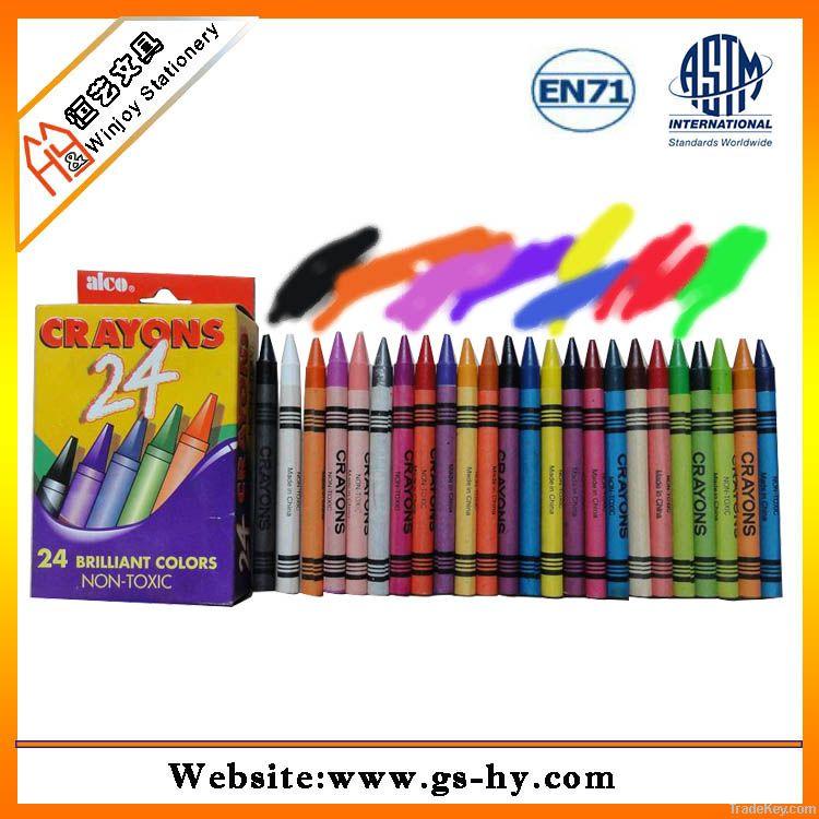 24 pcs wax crayons in a paper box, kids drawing set