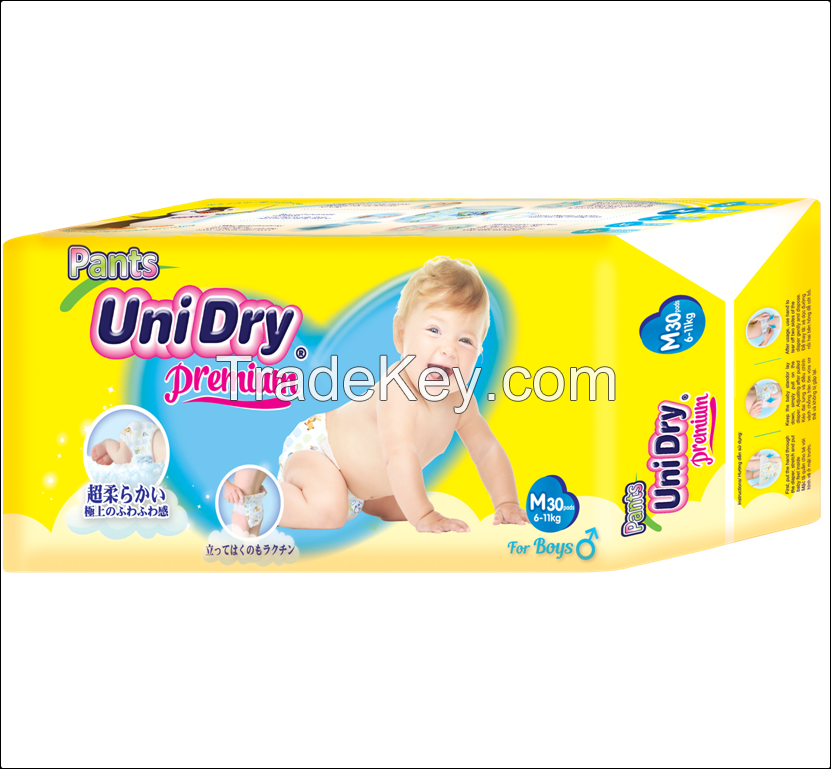 PREMIUM BABY PULL PANT UNIDRY, MAXIMUM ABSORBENCY, SUPER SOFT BACKSHEET COMPETITIVE PRICE MADE IN VIETNAM