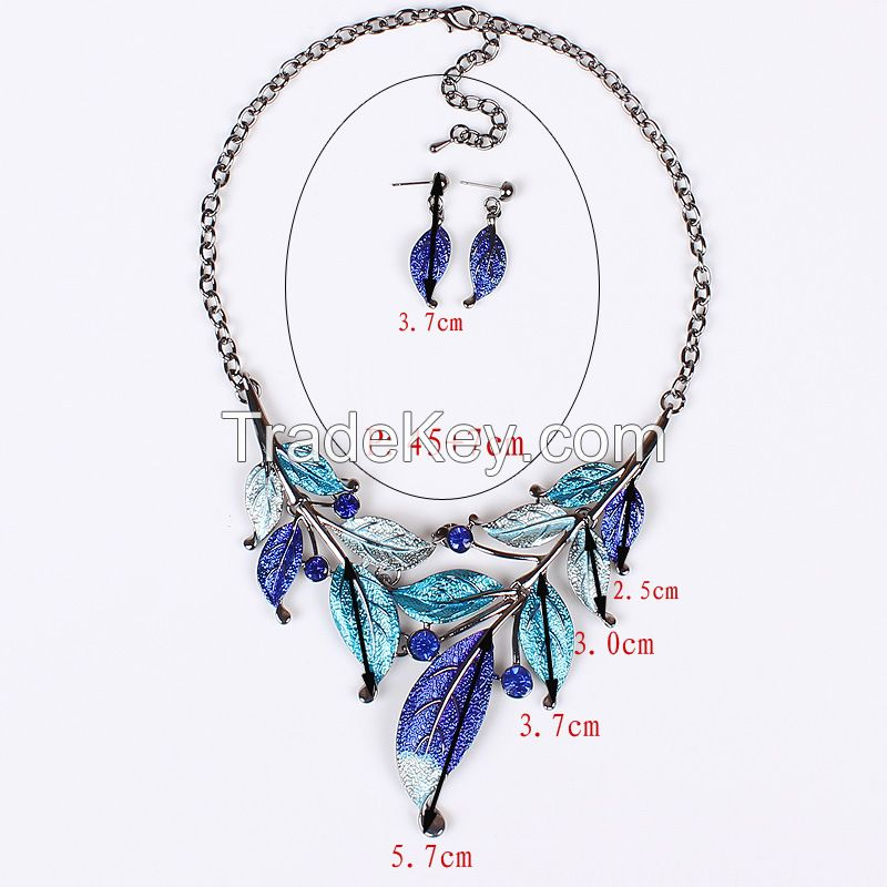 Vintage style necklace gathering leaf leaves necklace earrings MD-1414