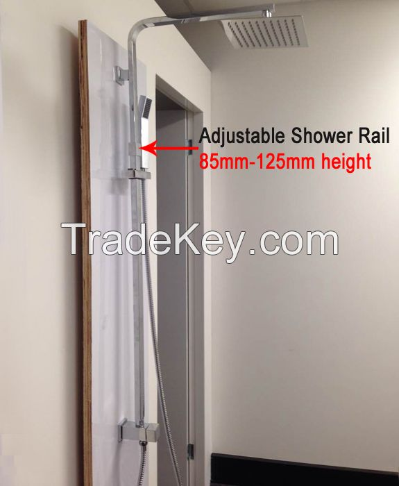 Bathroom 8'' Ultrathin Slim Square Handheld Shower Head Set 30% Water Savings