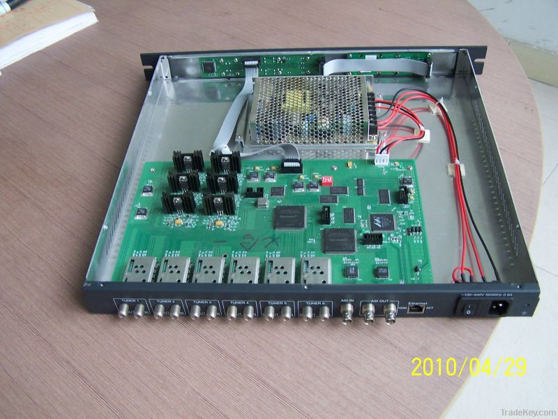 DVB-S/S2 7 IN 1 IRD and multiplexer /6 RF and 1 ASI in 2 ASI out satte
