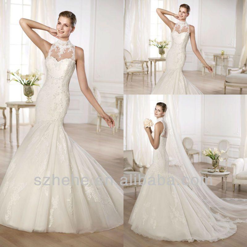 CW972 Retro elegant high neck applique lace mermaid wedding dress 2014