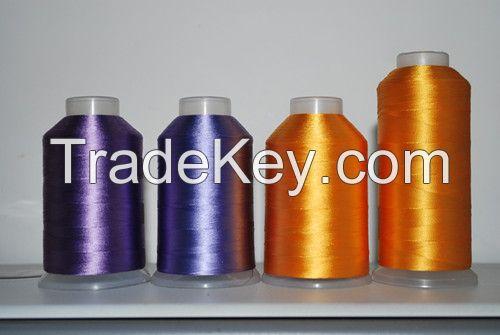 Dyed viscose filament yarn