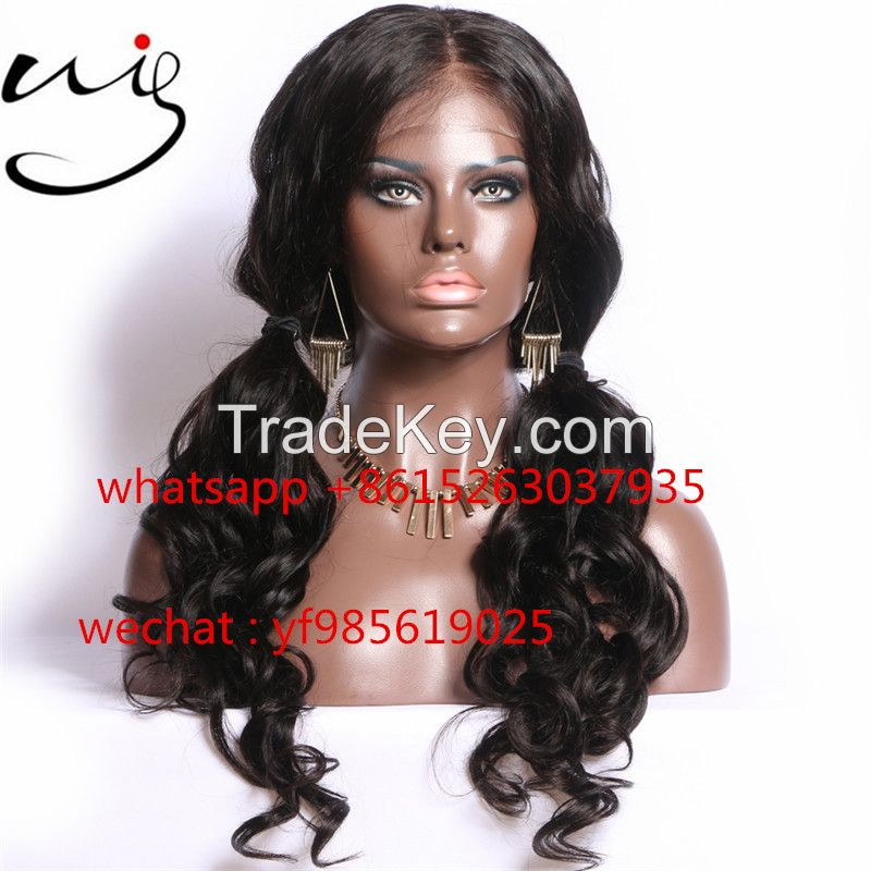 body wave style virgin brazilian human hair glueless full lace wigs for black women
