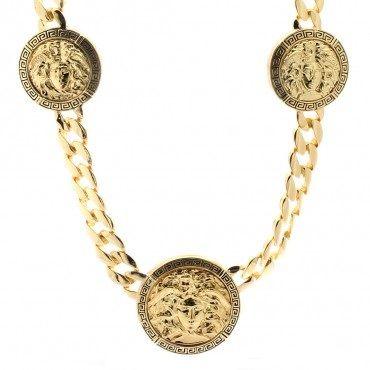 Gold Plated Medusa 3 Medallion Chain