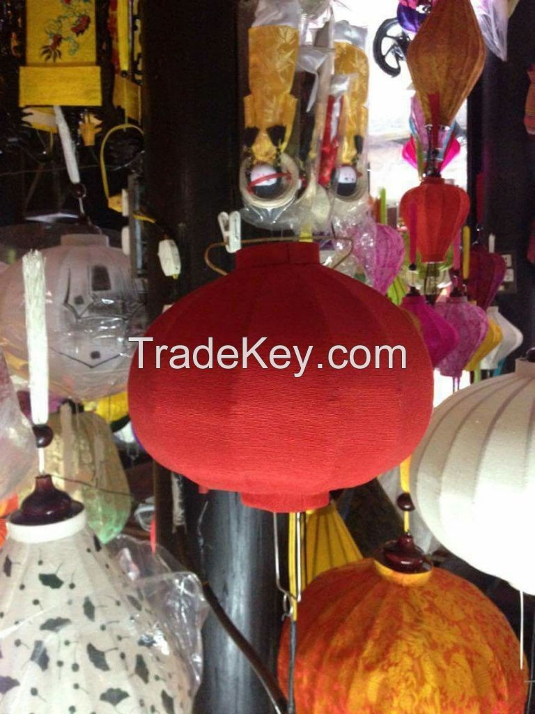 Vietnamese silk lantern and bamboo fan