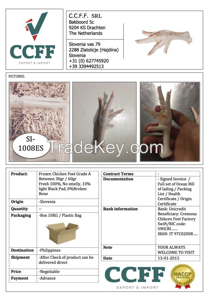 Chicken Feet Grade A / B / unprocessed