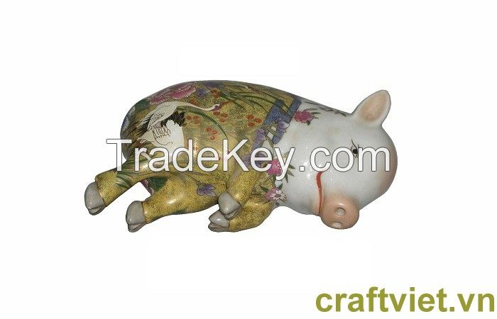 Lucky pig( Sleeping ceramic pig)