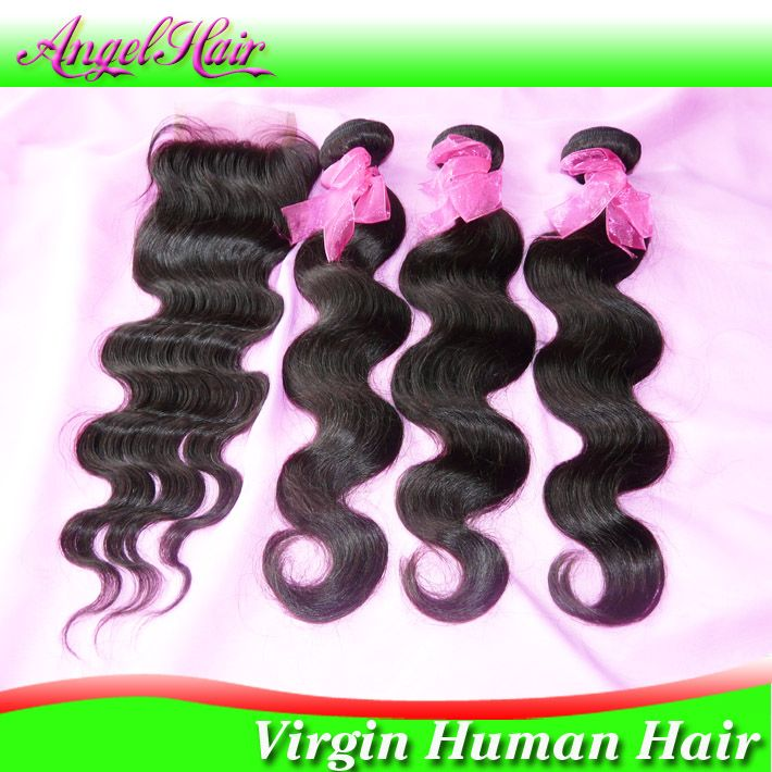 Brazilian Virgin Hair 4pcs Lot Free Part Lace Closure With 3pcs Hair Bundles Unprocessed Human Virgin Hair Extension Body Wave