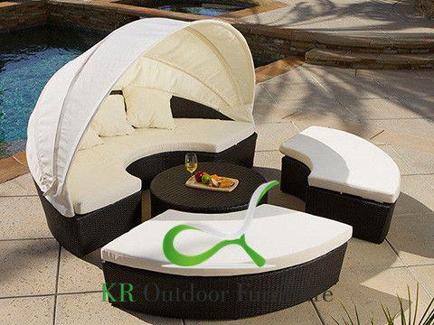 Outdoor Sun Loungers Wicekr Sunbed Rattan Outdoor Bed