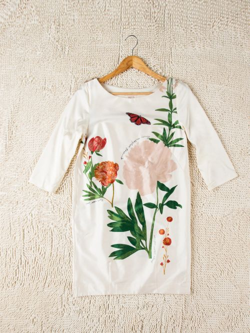 New fashion ladies casual dress three quarter sleeve with Chinoiserie printing