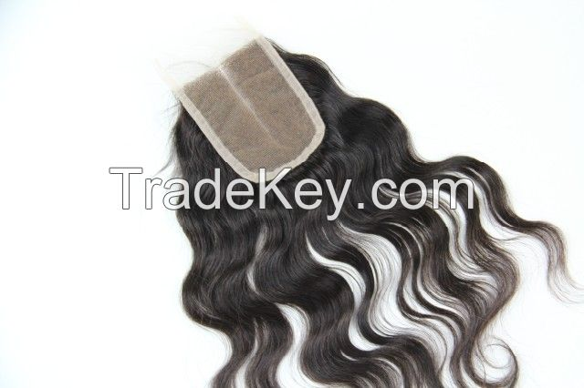 Human hair top closure