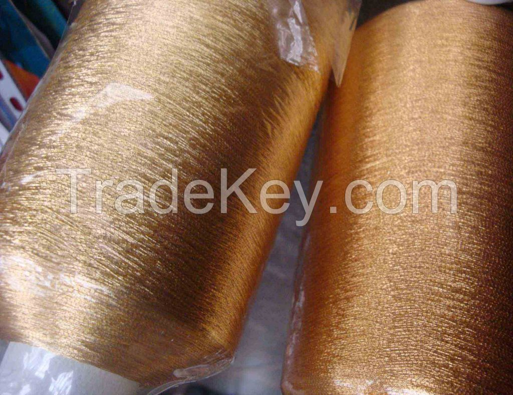 PURE SILVER METALLIZED FILM RAYON 150D YARN GOLD COLOR