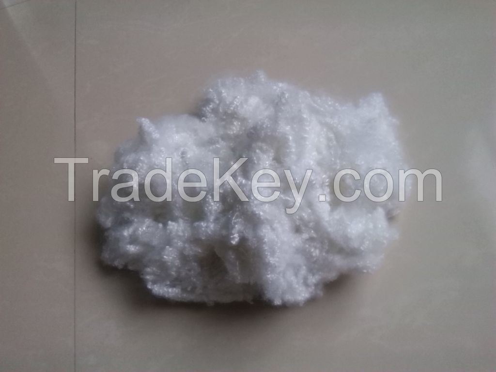 Recycled hollow conjugated siliconized polyester staple fibre