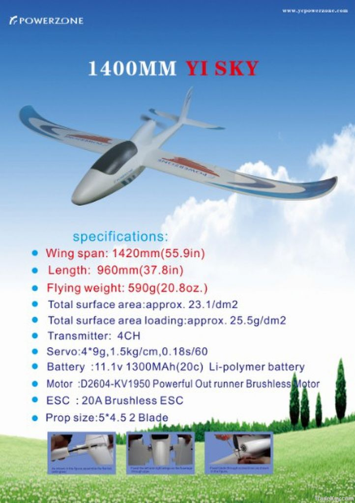POWERZONE RC airplane 1400mm YI-SKY Electric Glider
