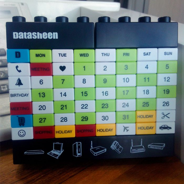Best New Year Gift Blocks Calendar DIY Changeable Perpetual Calendar Building Block Puzzle Bricks Table Calendar