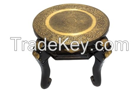 WOODEN  PAINTED BRASS STOOL SMALL