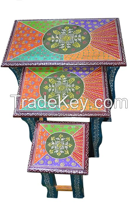 wooden painted nested stool s/3 cutting leg