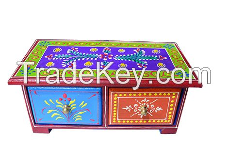 WOODEN PAINTED 2 DRAWERS BOX