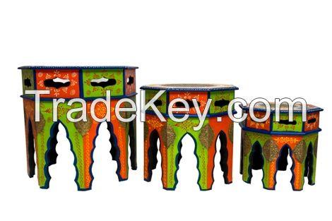wooden brass painted octangal stool set of three