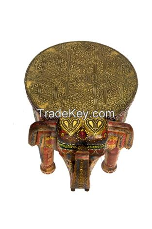 wooden painted brass fitted assorated elephent stool