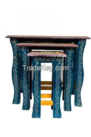 WOODEN PAINTED  NESTED STOOL SET OF 3