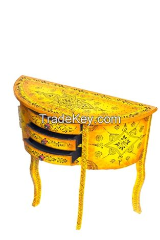 WOODEN PAINTED CONSOLE TABLE HALF  MOON  YELLOW