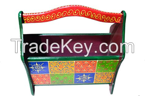 Wooden painted papper shelf or book shelf
