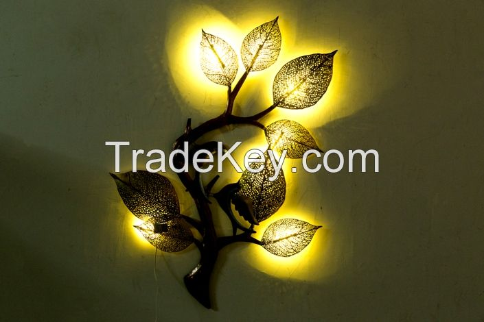 Iron tree branch wall decor  with led light