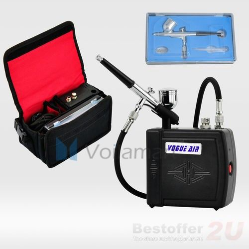 Portable Mini Black Compressor Gravity Air brush Spray Kit with Carry Bag 59.71