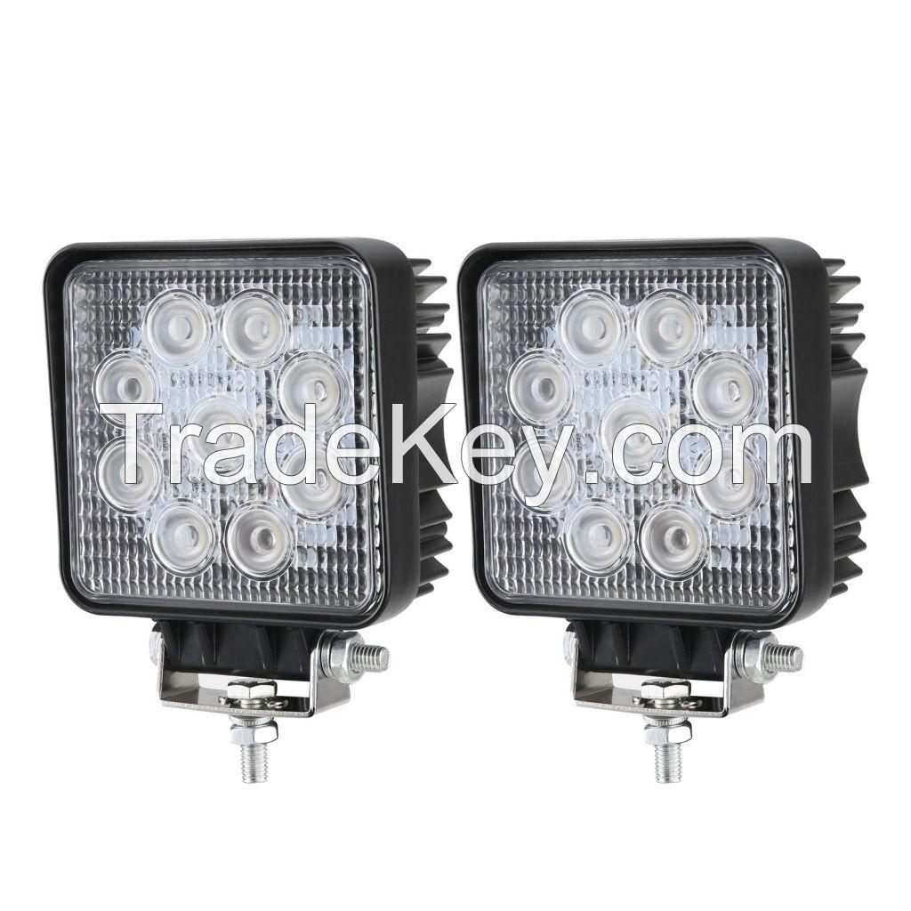 2pcs 27W LED Work Light Square Flood Lamp Bar 4x4 4WD Driving Auto 12V 24V
