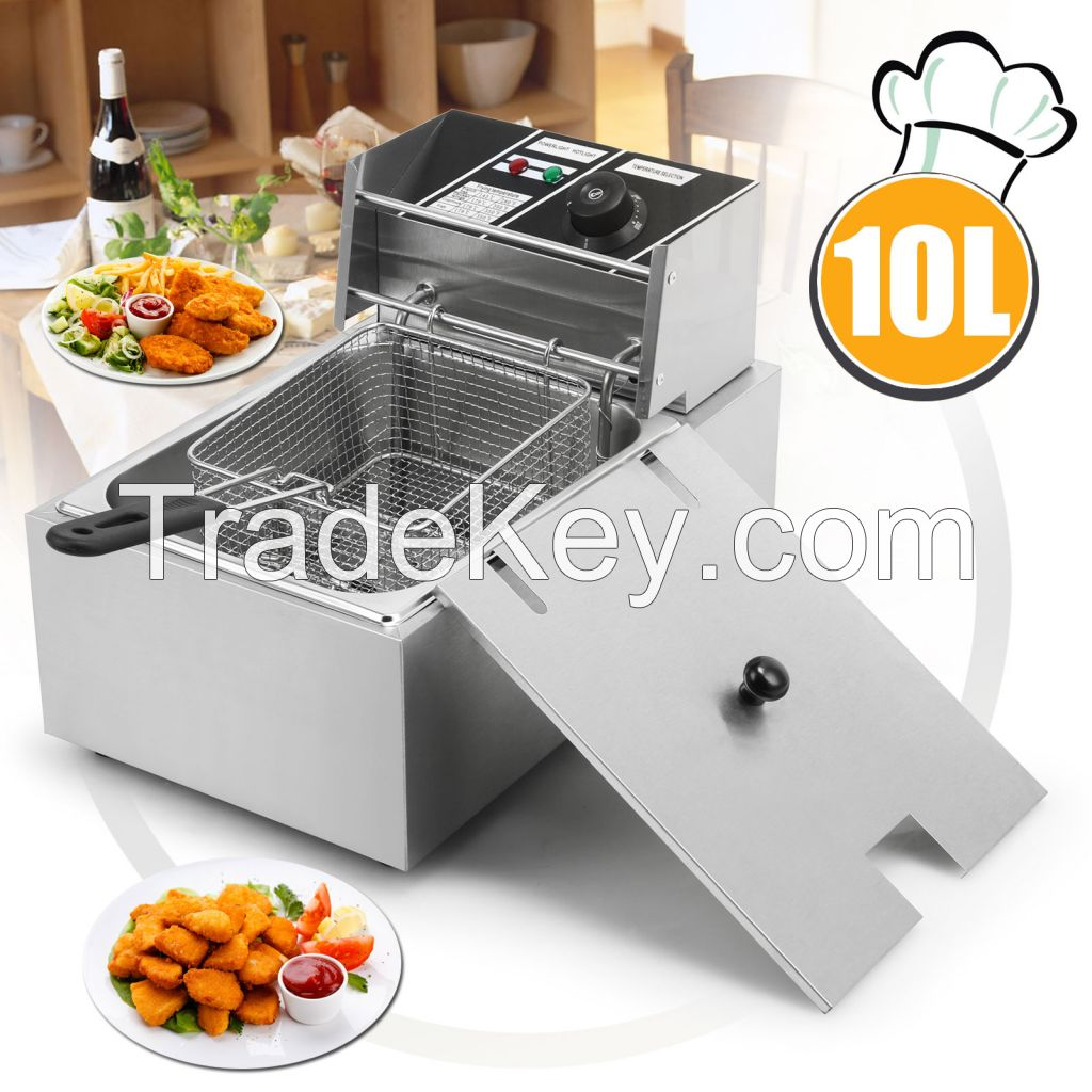 New 2500W 10L Electric Benchtop Deep Fryer Tank Basket Restaurant Commercial