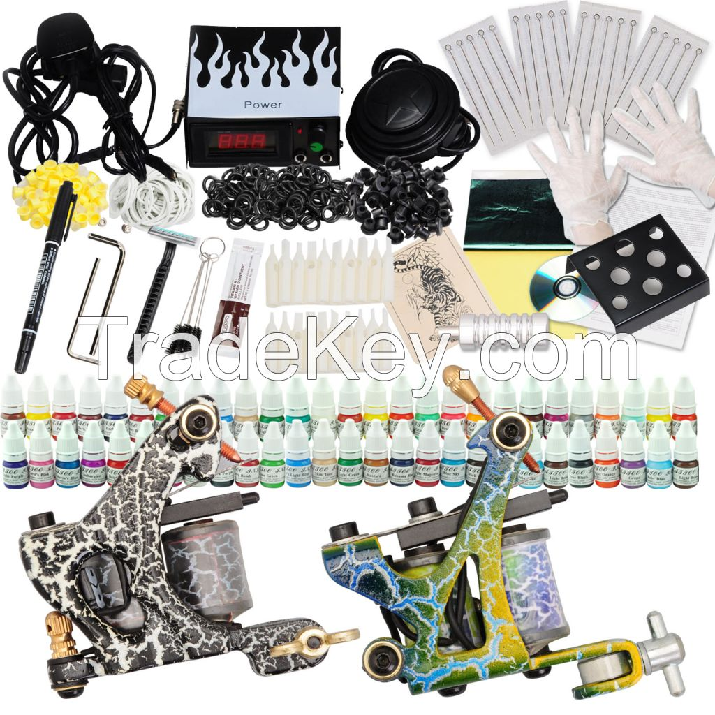 Complete Tattoo Kit 2 Machine Guns Set Equipment Power Supply 54 Color Inks
