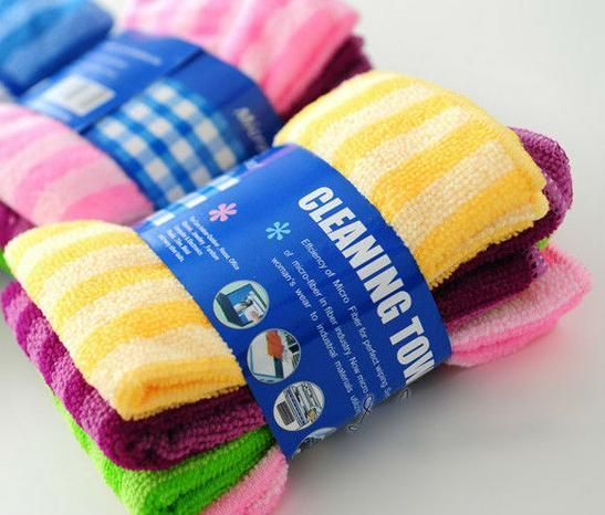 Striped Microfiber Wiper Cleaning Cloth Super Absorbant