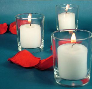glass candle cup for tealights or votives