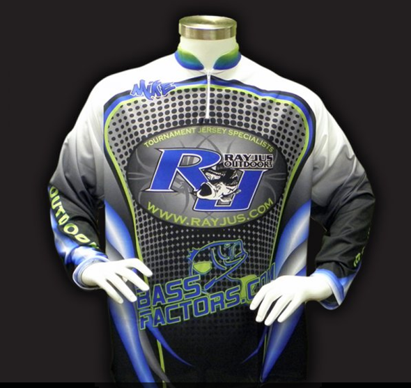 Custom fishing jersey with sublimated printing