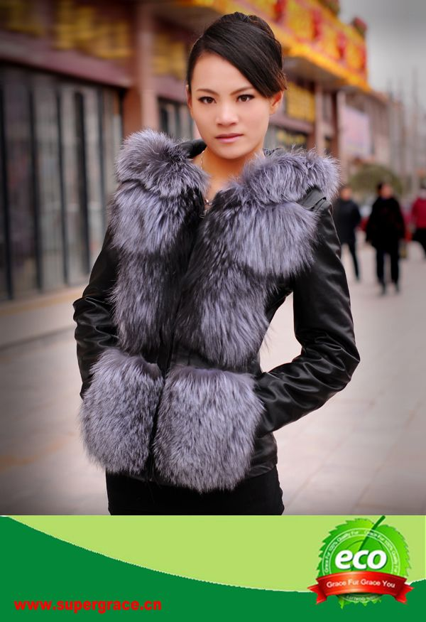Women Winer Fashion Custome Slim Fox  Fur Jacket