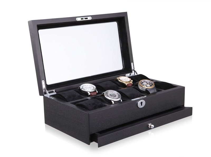 High quality 10 grid wood watch box Watch display show case with coded lock Big watch suitable top visiable Craftwork