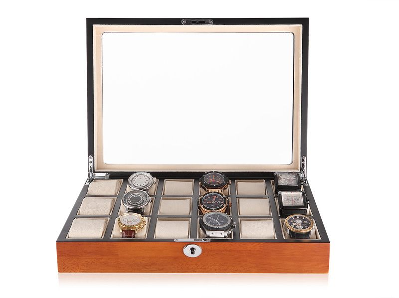 watch storage box display case solid wood watch case 18 grid watch collector case Brand new High quality