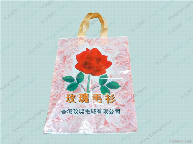 Wholesale free Logo custom own plastic gift bags with straps