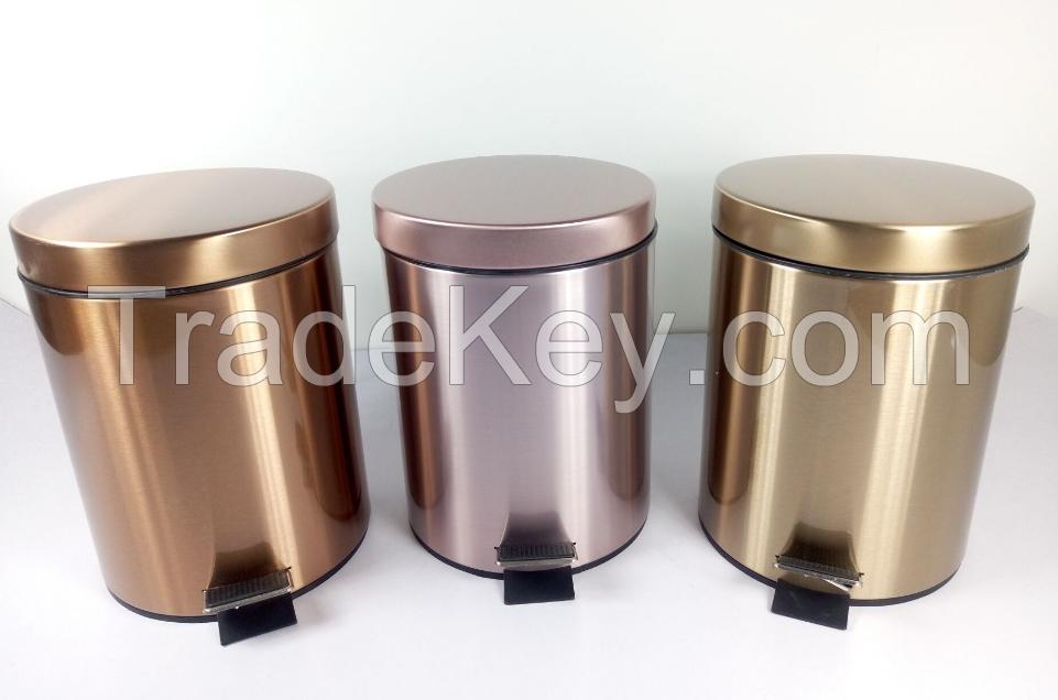 professional colorful stainless steel pedal dust bin waste bin