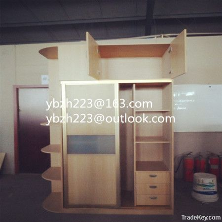 sliding door wardrobe with vertical wall shelf