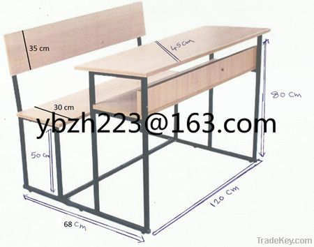 beech double seat scool dek with bench