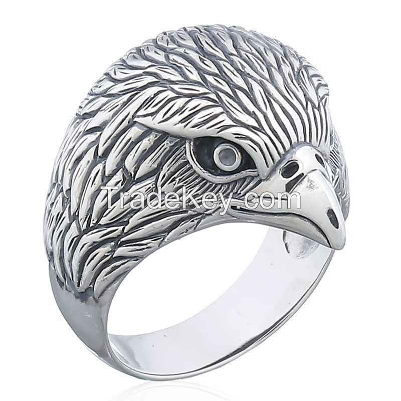 925 Sterling Silver Eagle Heard Ring
