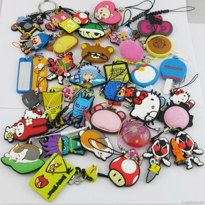 Soft rubber custom shape phone strap/any design is ok!