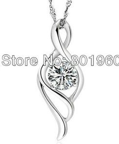 18K white gold plated cubic zircon necklace fashion jewelry