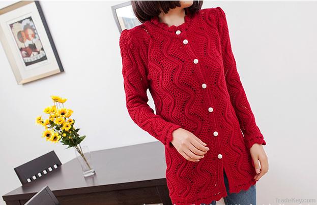 2013 new Korean large pearl clasp Puff hollow long cardigan sweater